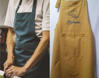 Custom embroidered cotton kitchen apron
