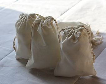 e357f0dbf0 Reusable ECO Friendly Cotton Double Drawstring Muslin Bags 6x8 inches  (Natural Color)-100 Count Pack
