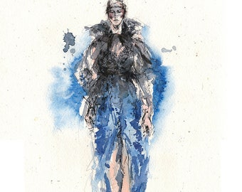 Black and blue - original fashion-illustration