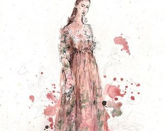 Lady in pink - original fashion illustration