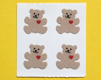5 Sheets of GOLD CUTE TEDDY BEAR In Assorted Working Activities Peel Off Sticker