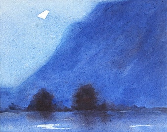 "Moonrise, 10"" x 10"", Original Oil Painting on Canvas"