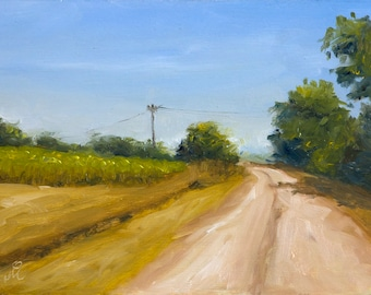 """Country Road, 6"""" x 8"""", Original Oil Painting on Canvas"""