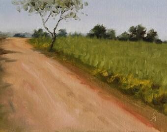 """Jowar field at Kamti, 6"""" x 8"""", Original Oil Painting on Canvas"""