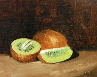 """Kiwi, 6"""" x 8"""", Original Oil Painting on Canvas"""