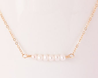 Freshwater pearl bar necklace - 14k gold - Minimalist