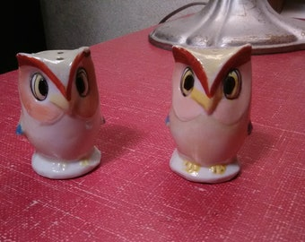 Vintage Owl Salt and Pepper Shakers Matching Pair