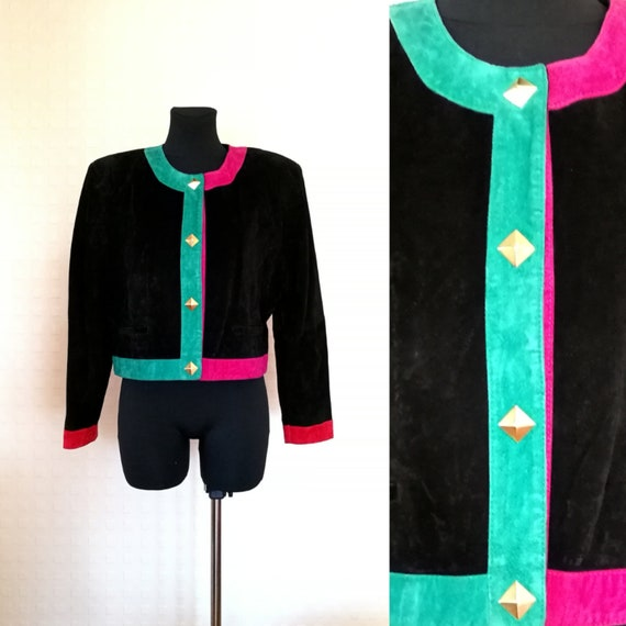80's Women's Black Suede Leather Cropped Jacket Vi
