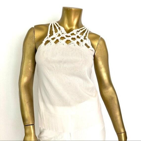 VINTAGE VIVIENNE TAM sheer nylon sleeveless top