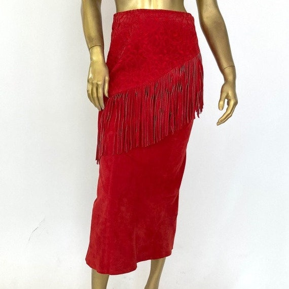 LEW MAGRAM COLLECTION suede midi skirt with fringe