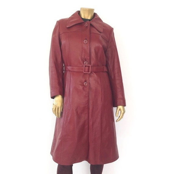 UNBRANDED VINTAGE RED leather trench coat