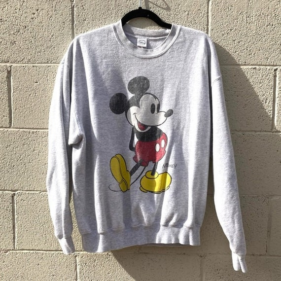 Vintage Mickey Mouse Disney Big Logo Sweatshirt Pullover Jumper Green L