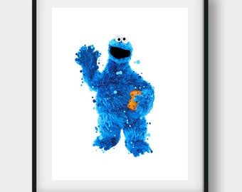 Cookie Monster, Sesame Street, Cookie Monster Print, Cookie Monster Art, Nursery Wall Art, Child Room Art, Birthday Party, Party Decoration