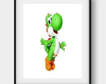 Yoshi Print, Super Mario Brothers, Yoshi Poster, Yoshi Art, Yoshi Decor, Yoshi Wall Art, Super Mario Art, Super Mario Print, Gamer Print