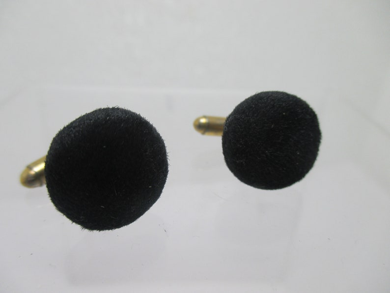 mid century cuff links gift for him cloth 50s cuff links vintage men/'s jewelry Black Felt cufflinks VINTAGE FABRIC  cuff links