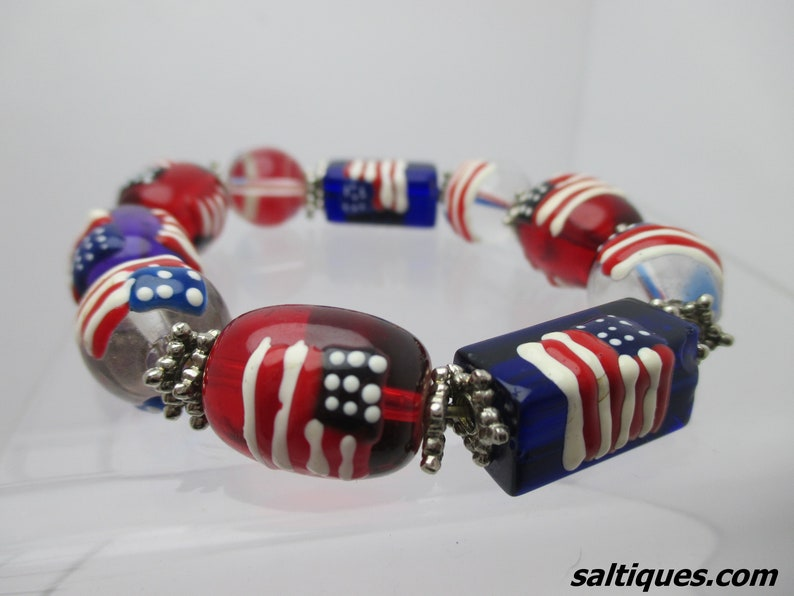 glass jewelry on sale hand painted 4th of July Glass Bead Bracelet gift for 4th of July Independence Day Red white blue bracelet