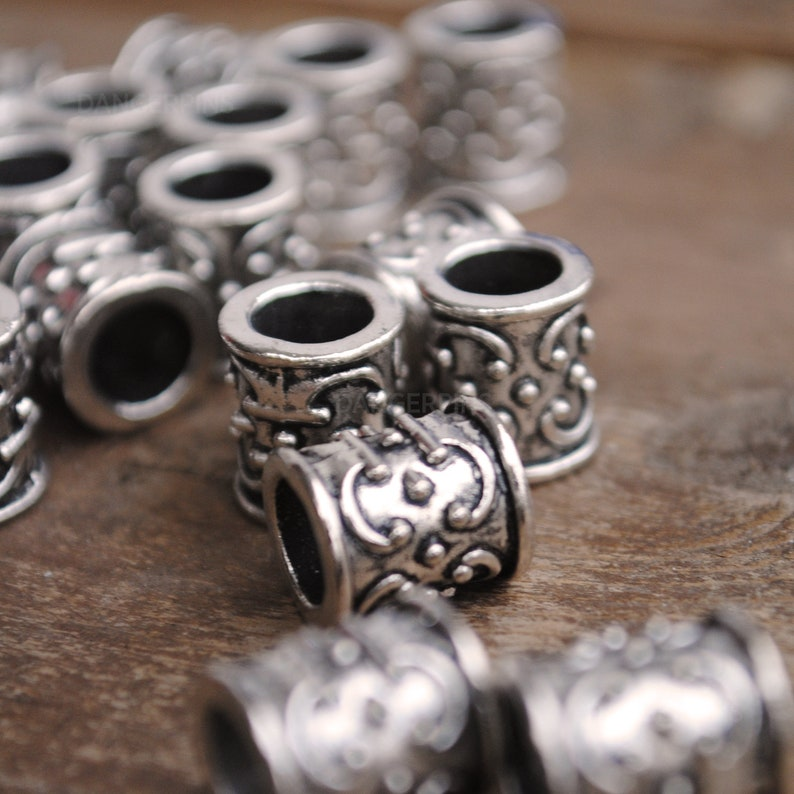 10 Celtic Curls stamp viking celtic hair beard braid beads