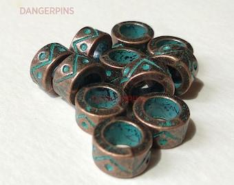 set of 10 aged Copper look viking / celtic hair beard braid beads - dreadlocks charms