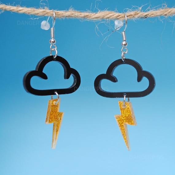 Acrylic Storm Cloud Lightning Earrings  Rain Cloud Earrings  Weird Earrings  Edward Gorey Style  Kawaii Thundercloud