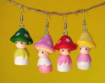 Cute Mushroom people Earrings - kawaii weirdo creepy