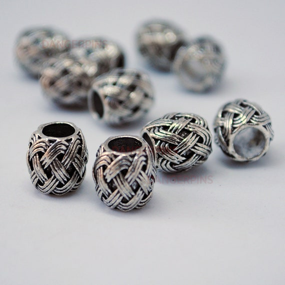 10 Vine leaves viking celtic hair beard braid beads alloy metal silver