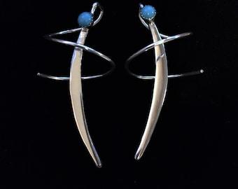 Medium Ear Swirls, Sterling Silver and Sleeping Beauty Turquoise