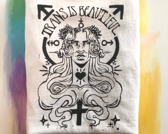 Trans Is Beautiful Hand Screenprinted tee LARGE
