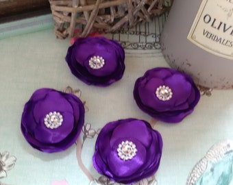 Satin layered fabric flowers
