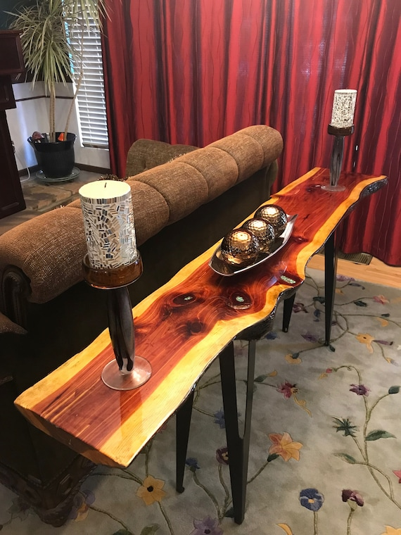 8/'9  Live Edge Console Table Dining Table Handmade Sofa Table Mid Century Modern Entry Table  T005