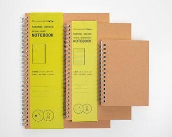 Spiral Kraft Notebook | 160 pages 80 sheets | 100 gsm eco-friendly paper | Occasional Motto Spiral Notebook | A6 A5 B5 Kraft Spiral Journal