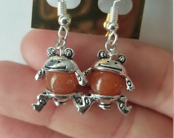 Sunstone Frog Earrings