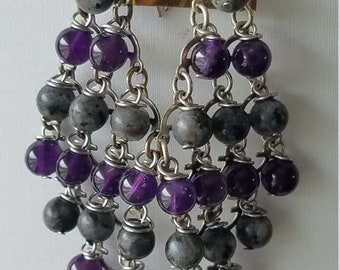 Labradorite and Amethyst Earrings
