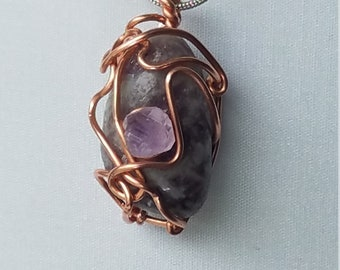 Lepidolite and Amethyst Necklace wrapped with Copper Wire