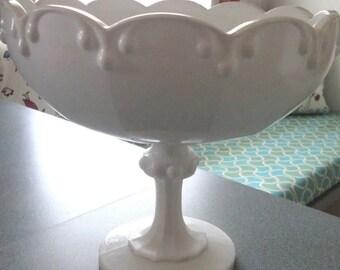 Compote drip ball milk glass  pedestal dish