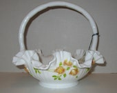 Fenton 1970 39 s Sears White Milk Glass Handpainted Rose Basket