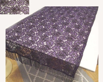 French Alencon Lace Embroidered Purple Table Runner Beaded Vintage