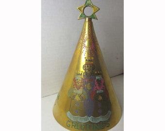 Large Brass Christmas Greetings Bells of Sarna India 1974