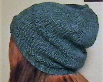 Knitted Blue Beanie and Necktie Scarf