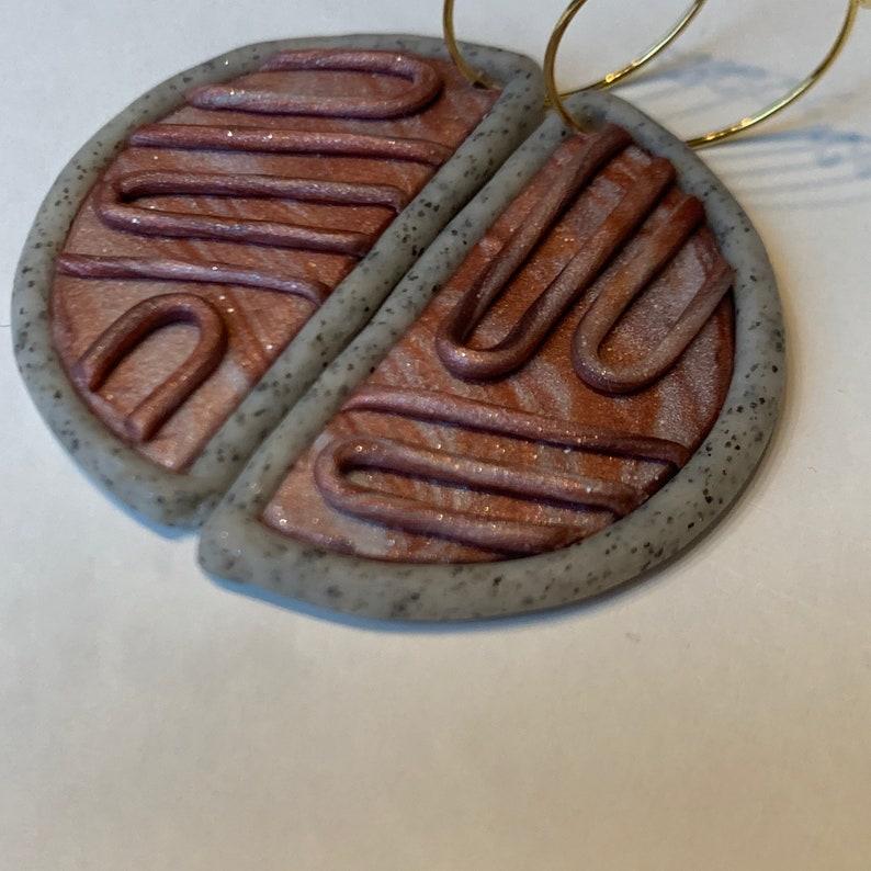 Handmade Copper Mocha Half Circle Textured Polymer Clay Earrings