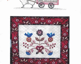 North Cat-Olina Quilts, Love Birds Quilt, Wool Applique Pattern