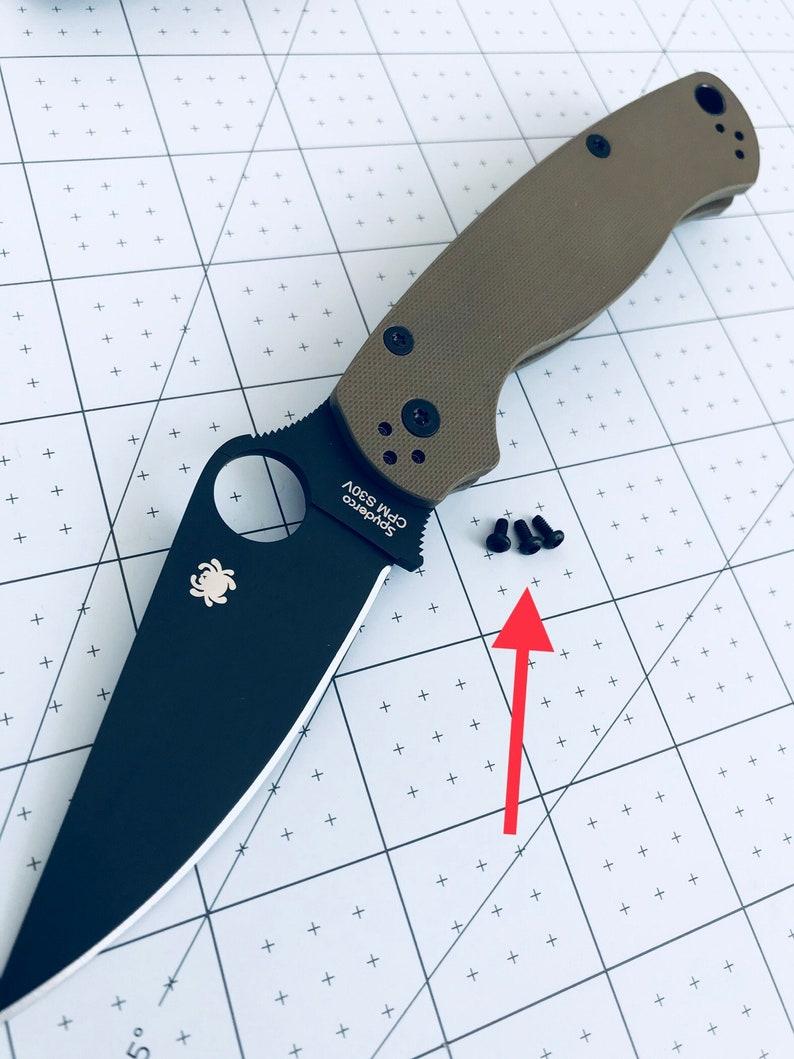 Spyderco Paramilitary 2 + Para 3 CUSTOM Black Oxide Big Head Pocket Clip  Screws