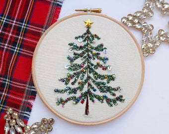 Beaded Christmas Tree embroidery kit