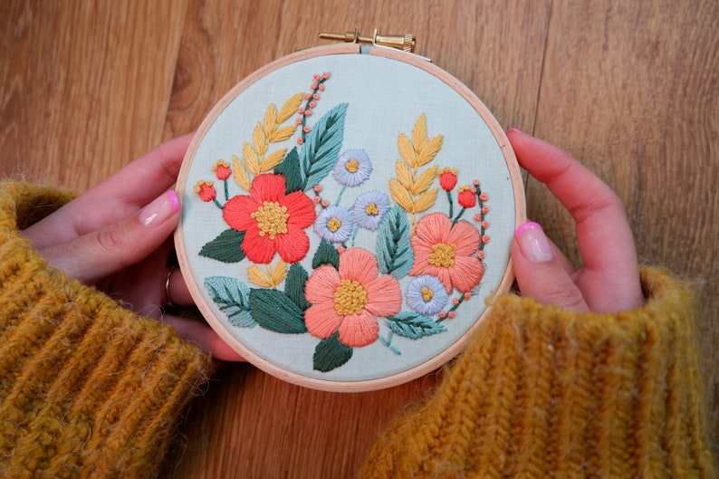 Floral embroidery kit flower embroidery kit beginners image 0