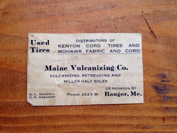 Ancienne Carte De Visite Maine Vulcanisation Co Circa 1910