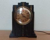 WORKING 1930 Warren Art Deco Skyscraper Antique Bakelite Telechron Electroalarm Alarm Clock