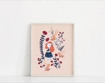 Wall art Flower garden and Little Girl