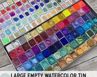 EMPTY Watercolor Tin - Holds 84 Half Pans OR 48 Full Pans - Watercolor Palette - Empty Tin - Pan Watercolor Case - Travel Watercolor Tin