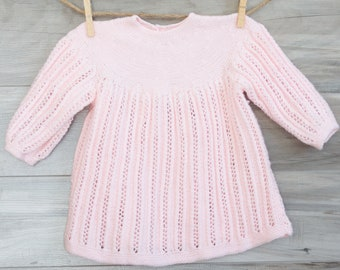 Incredible Vintage Delicately Knit Baby Dress Pink Crochet Infant Dress Smock Tunic