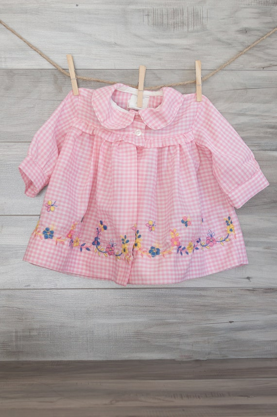 85481ab55 Vintage Pink Babies Collared Embroidered Smock Spring Colors
