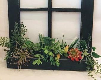 Black window box planter